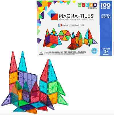 Magna-Tiles 100 Piece Clear Colors Set Magnatiles Valtech 100% Authentic NIB