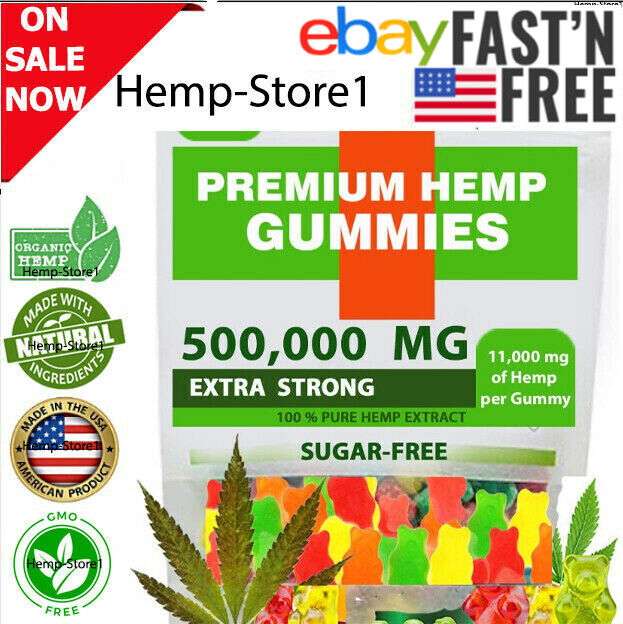 Premium 500,000 MG Hemp-Gummies for Stress & Anxiety Relief Edibles Mood Support