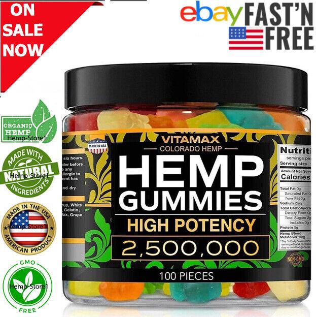 Natural-Hemp Gummies 2500000MG Stress Anxiety Relief Inflammation improve sleep