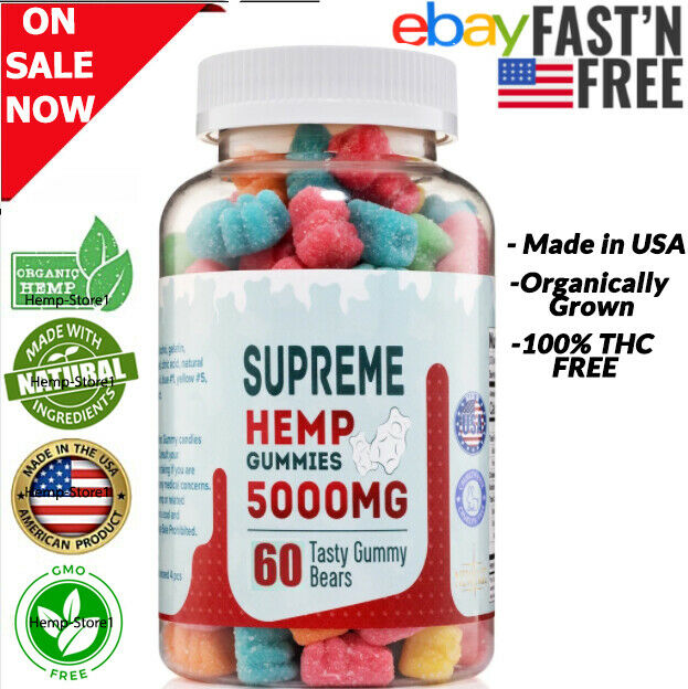 Premium Hemp-Gummies 5000 MG Pain Anxiety Inflammation Relief Sleep Mood Support