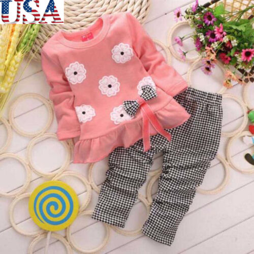 2PCS Winter Cute Kids Girls Long Sleeve Flower Bow Shirt + Pant Set Clothing US