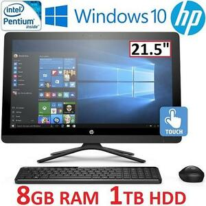 "NEW HP 22-B012 AIO TOUCH DESKTOP PC - 122685127 - 21.5"" TOUCHSCREEN PENTIUM J3710 8GB RAM 1TB HDD WINDOWS 10 COMPUTER"