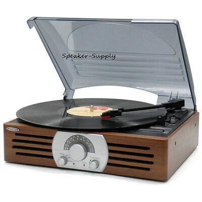 Jensen JTA-222 3-Speed Turntable Stereo Radio Built in Speakers Record Player