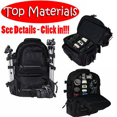 Universal DSLR SLR Camera Large Backpack Bag for Nikon Canon Sony Black