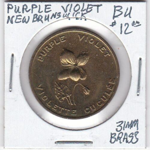 Token - New Brunswick, Canada - Purple Violet - BU - 31 MM Brass