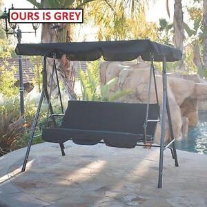 NEW* MAINSTAYS 3 PERSON PATIO SWING GREY - GRAY - CUSHION SEAT - YARD - BACKYARD - GARDEN 101418590