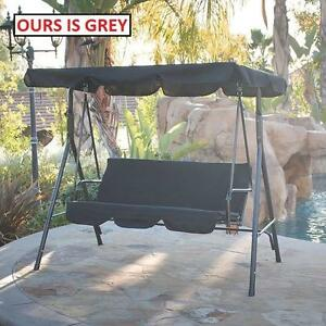 NEW* MAINSTAYS 3 PERSON PATIO SWING GREY - GRAY - CUSHION SEAT - YARD - BACKYARD - GARDEN 101418590