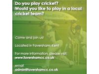 **CRICKET PLAYERS WANTED!** Faversham Cricket Club