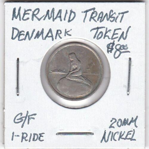 Token - Denmark - Mermaid Transit Token - G/F 1 Ride - 20 MM Nickel