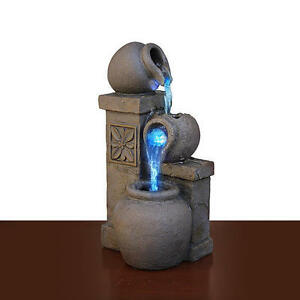 water fountain rustic vase color changing indoor feature