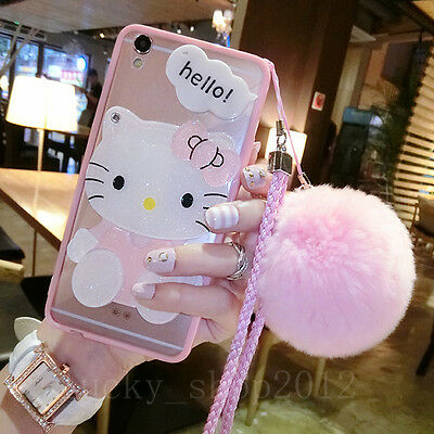 Cute Hello Kitty Mirror Plush Ball Strap Clear Case Cover For Iphone Xs Max Xr 8
