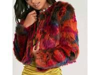 Brand new multicolour faux fur jacket