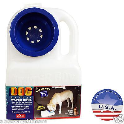 Travel Dog Bowl Portable Bottle Dispenser Spill Proof Water Park Lid Camping 3QT