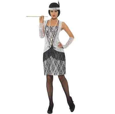 Damen 1920s Jahre Flapper Schicke Verkleidung Kostüm Charleston Outfit Silber
