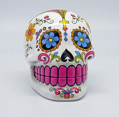 White Sugar Skull Mexican Day of the Dead Dia de Los Muertos Coin Bank