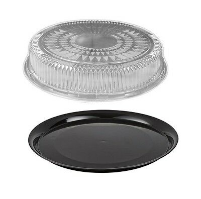 12 Flat Black Plastic Catering Tray Wdome Lid 10 Sets - Disposable Party Trays