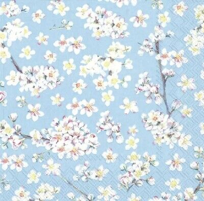 4 Lunch Paper Napkins for Decoupage Party Table Craft Vintage Blue Flowers