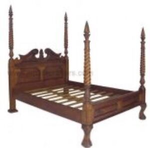 Antique Chippendale queen size 4 poster mahogany bed