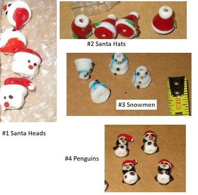 Sets of 4 Lampwork charms jewelry earrings, crafts, beads NEW Christmas santa - Bead Sets
