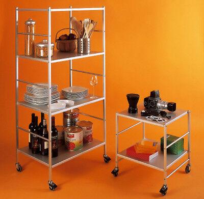 Carrello in alluminio Kriptonite con ruote - Porta TV, Scaffalatura, Scaffale