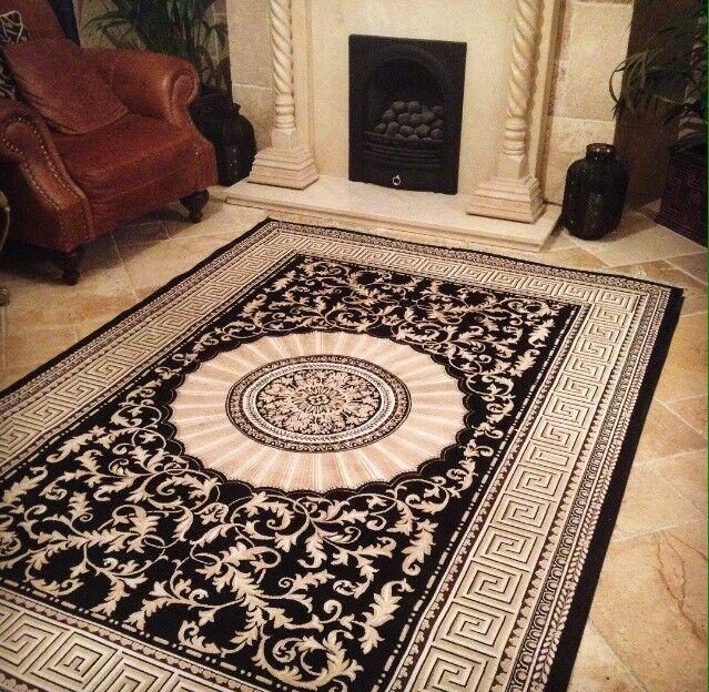 Immaculate Persian Versace Designer Style Rug Carpet Mat Black