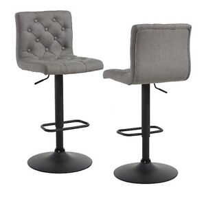 Brand new bar stool in grey fabric