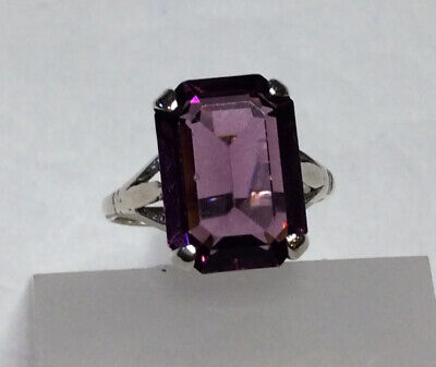 1940s Jewelry Styles and History Ring  Size L Sterling Silver Purple Stone Baguette Vintage 1940s   (104520V) $41.27 AT vintagedancer.com