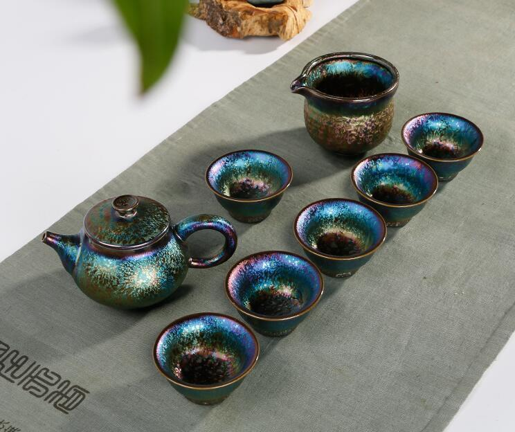 OIL Spot Tenmoku Tea Bowl Cup Peacock color Tianmu Chawan JianZhan set Teapot