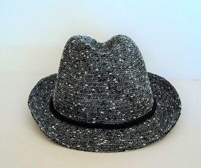 Women's Juicy Couture Ladies Black White Silver FADORA Style Hat - FLASH SALE](Cheap Black Fedora Hats)