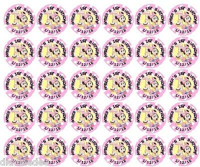 First Birthday Minnie Mouse (108 Minnie Mouse 1st First Birthday Hershey Kiss Labels Stickers)
