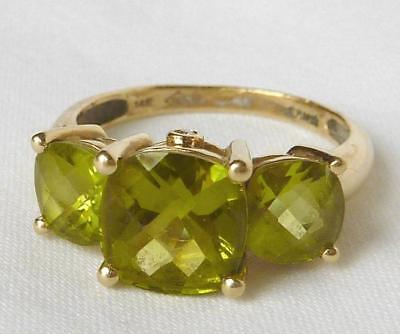 14k Gold 4.00 Ct Cushion Cut Peridot+Diamond 3 Stone Anniversary Band Ring~Sz 7