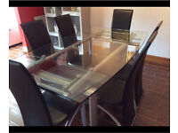 Glass extendable dining table + chairs