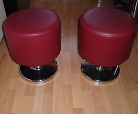 A Pair of Fixed Pedestal stool. Chrome bolt down base.