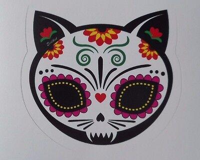 Dia De Los Muertos Cat ( Day Of The Dead Sticker Dia De Los Muertos Gato Cat)