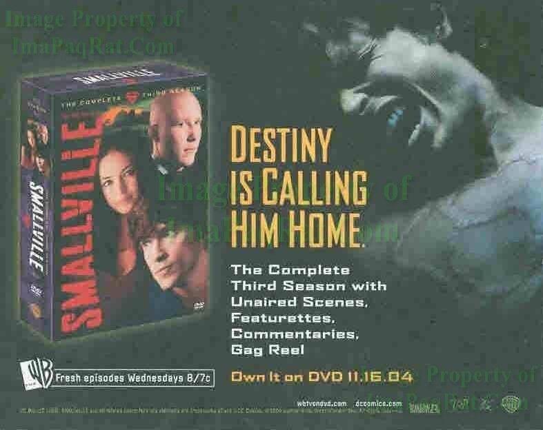 Smallville: 3rd Season DVD: Tom Welling: Great Original Photo Print Ad!