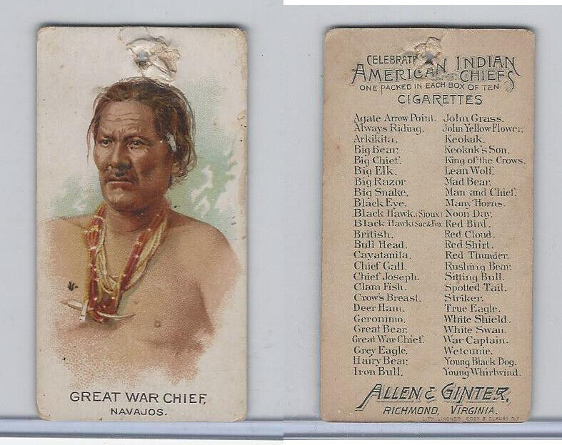 N2 Allen & Ginter, Celebrated American Indian Chiefs, 1888, Great War Chief
