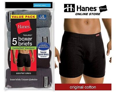 Hanes Mens Tagless  No Ride Up Boxer Briefs With Comfort Soft  Waistband 5 Pack