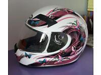 Oxide pink butterfly motorbike helmet