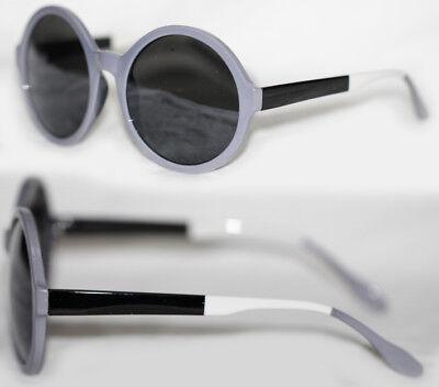 Runde Retro Sonnenbrille Color Blocking schwarz weiß grau 29 ()