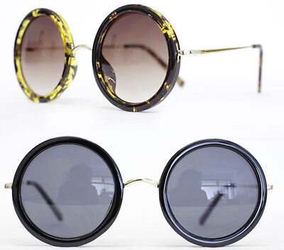 XL Retro Sonnenbrille round rund Oversize Glasses Hornbrille schwarz tortoise 68