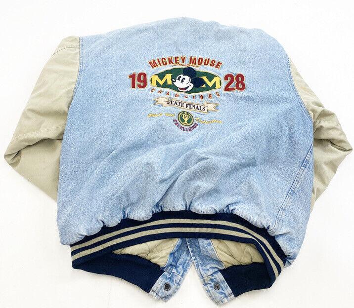 Vintage 1928 Micky Mouse Bomber Jacket Mens Large Denim and Khaki