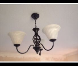 Cast Iron Ceiling & 2xWall Lights