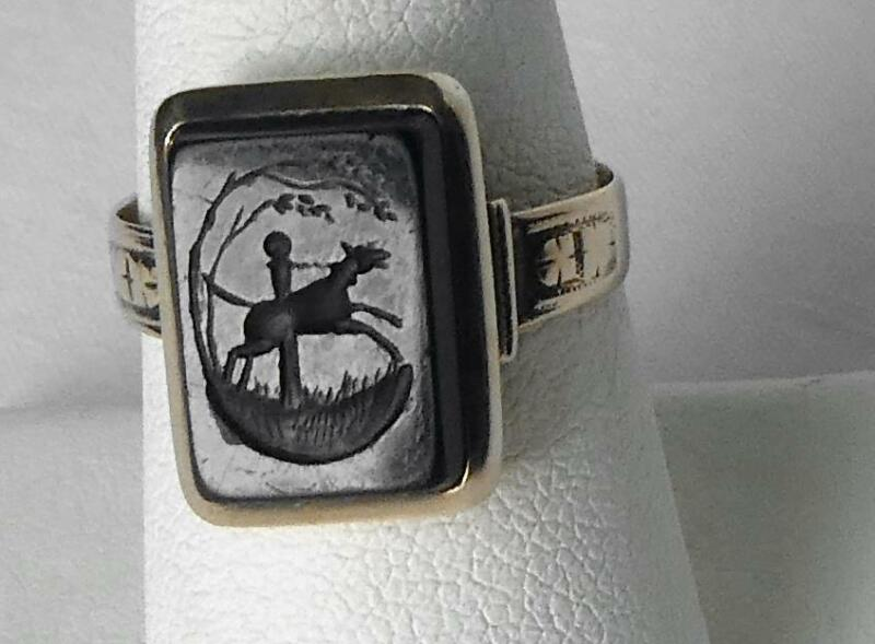 Victorian 10k Family Crest Coat of Arms Wax Seal Intaglio Signet Ring Horse