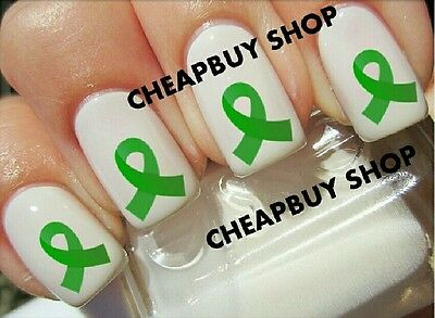 Flash Sale》KIDNEY CANCER AWARENESS》GREEN RIBBON LOGO》Tattoo Nail Art Decals - Green Ribbon Tattoo