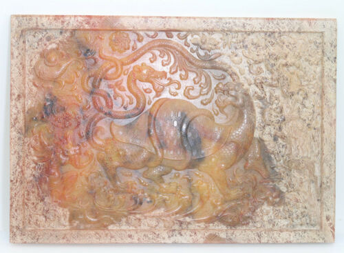 Chinese culture hand carved jade rectangle brown board with tortoise snake D499