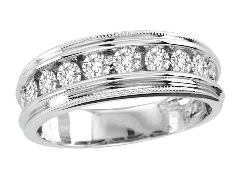 Mens white gold diamond wedding band ebay for Mens wedding rings with diamonds white gold