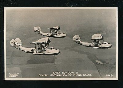 Aircraft Air Force Military RAF SARO LONDON II Flying Boats c1930s? RP PPC