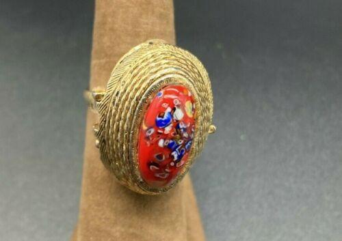 Vintage Italy Maruno Art Glass Perfume Locket Poison Ring Size 7.5 *Repair*