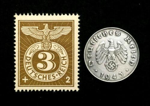 Old WWII German War Ten Rp Coin & RAREST 3pf Brown Stamp World War 2 Artifacts