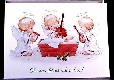 Christmas  Morehead Baby Jesus  Angels Playing  *Religious* Greeting Card UNUSED - Religious Christmas Plays